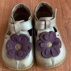 Livie & Luca | Gold w/ Purple Flower Shoes